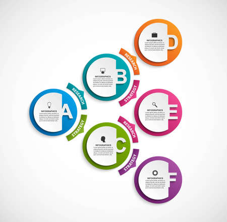 Infographic design organization chart template. Numeric infographic template.