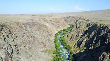 A blue river runs along the canyon. Green grass and trees. Boiling river in the canyon. Around the desert. View of the road. Steep edges of the canyon.