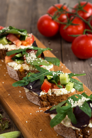 ve: Bruschette with fresh tomato and melted cheese, Italian Finger Food