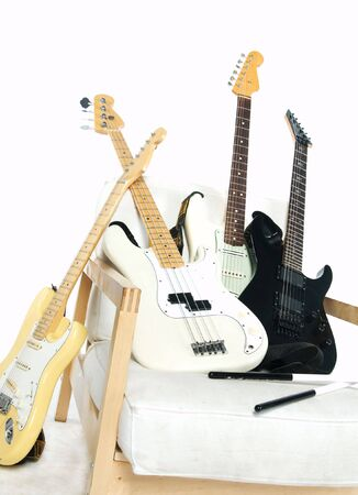 A lot of electric guitars photo