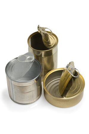 Three open empty tins on white background photo