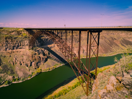 Perrine Bridge in Twin Falls, Idaho is a popular destination for bungee jumping, kayaking and so much more. Stock Photo
