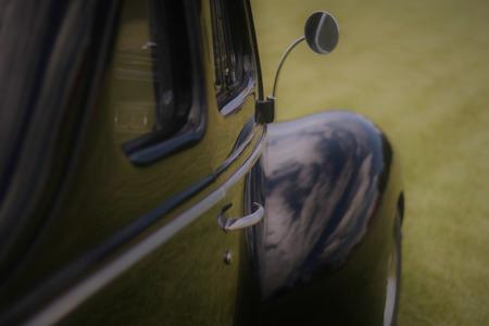 Sleek black vintage car.