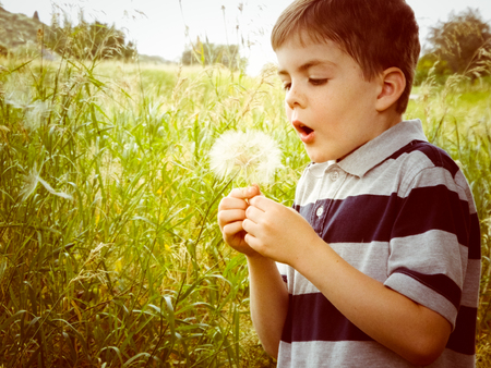 Just a little boy playing in the field and blowing dandelions...summers are too short are too short to waste the sun.