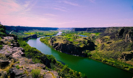 View of the Snake River, taken from Perrine Bridge in Twin Falls, Idaho. Stock Photo