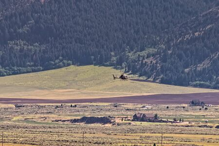 A Life Flight medical helicopter comes in for a landing in the rural town of Soda Springs, ID.