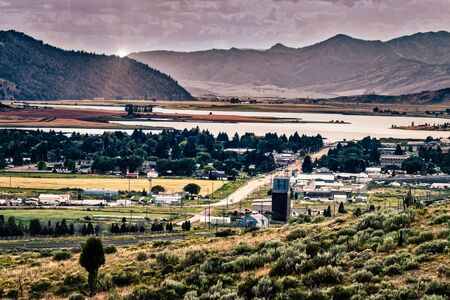 A full shot of Soda Springs, Idaho and Alexander Reservoir in the background.
