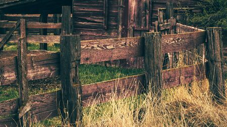 An aged and weathered wooden fence surrounds a corral and barn, lined with dried yellow grass on a rural country farm. Stock Photo