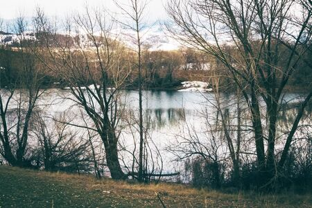 Bare Spring trees line a calm river along a grass-covered bank. Snowy mountains fill the background seen through the dark shadows of the trees, creating a transition from Winter to Spring.