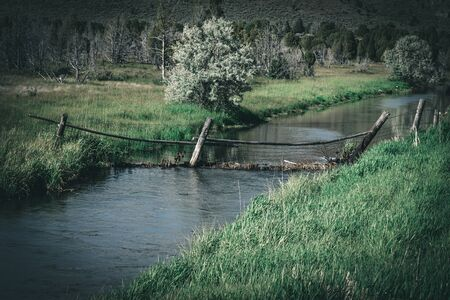 A rustic chain-link farm fence crosses a river, creating a dam that is catching debris like a dam. Imagens