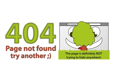 Funny error 404 - Page not found, the page is trying to hide behind the tree Vector