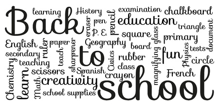 cyrcle: Black and white  Back to school  typography Illustration