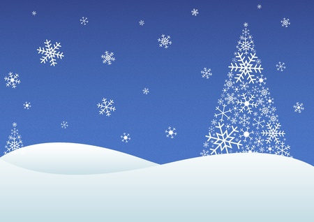 winter scenery: Winter landscape with snowflakes and trees made of snowflakes