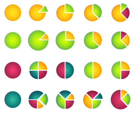 Set of isolated 2D pie diagrams Vector