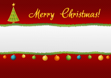 Christmas styled torn paper with christmas tree, decorations and sign wishing Merry Christmas Vector