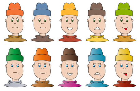 Set of 10 boy heads in 5 different moods Illustration