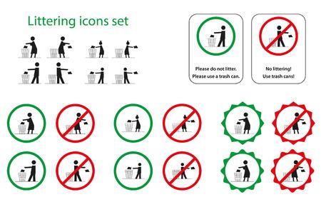 botar basura: Conjunto de iconos ensuciando para hombre, mujer, ni�a y ni�o Vectores