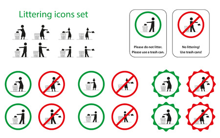 littering: Set of littering icons for man, woman, girl and boy