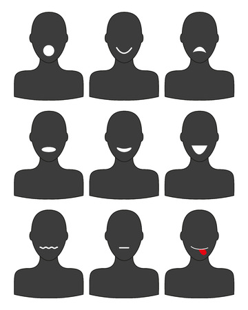 moods: Set of isolated silhouettes in different moods Illustration