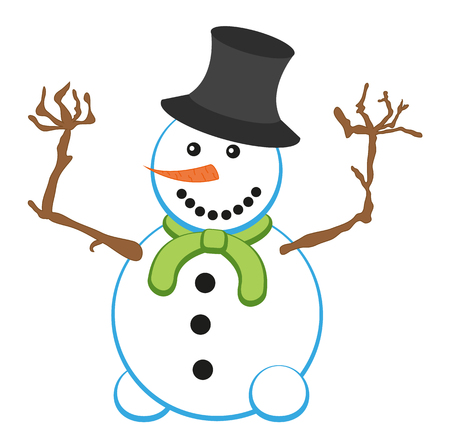 Illustration of isolated smiling snowman with green scarf
