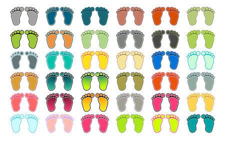 walking path: Set of 36 pairs of footprints in different colors