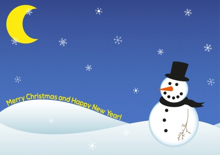 Illustration of happy snowman during December night wishing Merry Christmas and Happy New Year Illustration