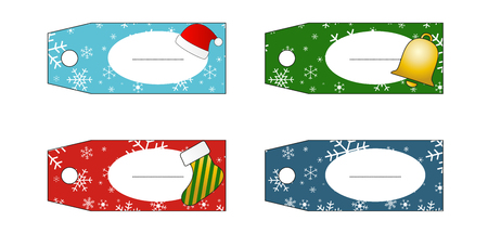 Set of 4 isolated christmas gift tags Stock Vector - 23657459