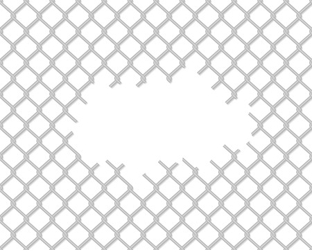 Cut wire fence with shadow on white background