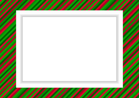 red x: Christmas styled striped frame for photo or graphic