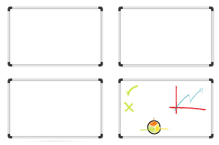 Isolated set of whiteboards - one plain, two with different shadows and one with some drawings Vector