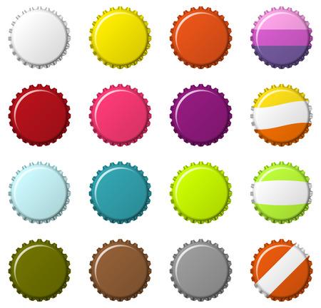 gorra: Conjunto aislado de 16 tapas de botellas de colores en blanco