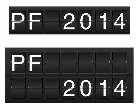 spilt: Isolated PF 2014 in flipboard  flightboard  style Illustration