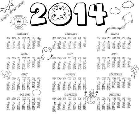 Black and white 2014 calendar in colouring book style Vector