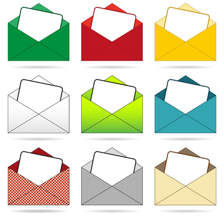 Isolated set of 9 envelopes in differenet colors