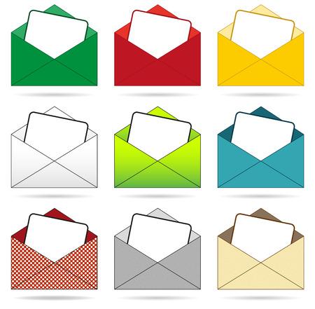 Izolowane zestaw 9 kopert differenet kolorach