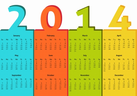 yeloow: Simple 2014 calendar in bright colors of blue, red, green and yeloow