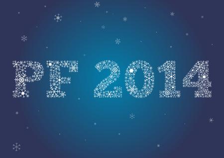 幸せな新年 2014年カード成っている雪片  イラスト・ベクター素材