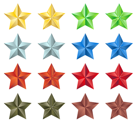 Set of 16 stars in 8 different colors Vector