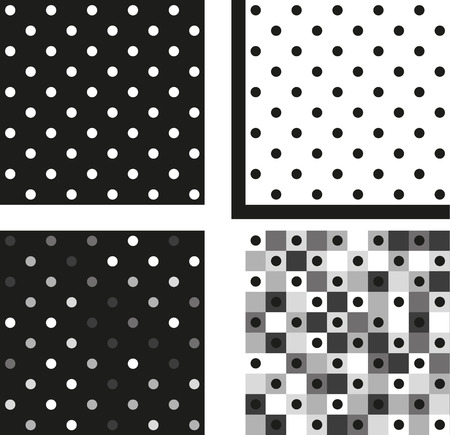 greyscale: Collection of 4 isolated seamless greyscale polka dot patterns