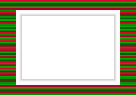 Christmas styled photo frame with lines of green and red Vector