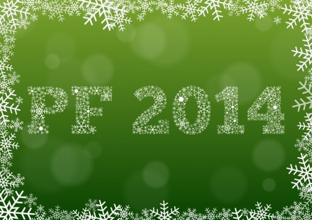 pf: PF 2014 made of snowflakes on green Illustration