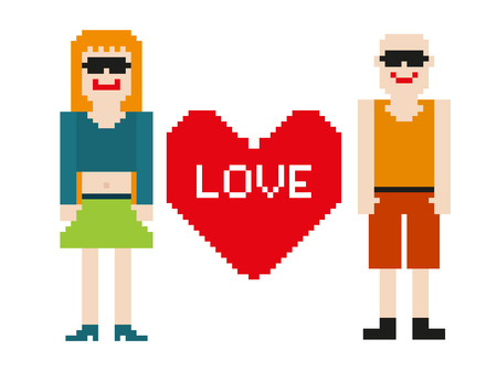 Pixel art of 2 isolated 8-bit people with heart Vector