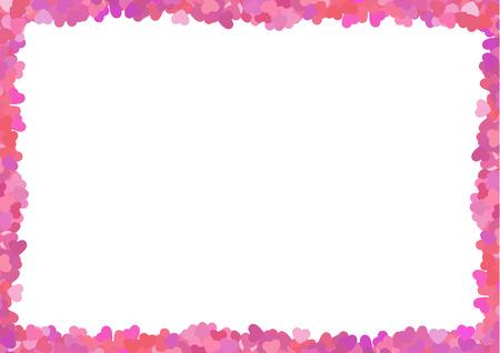 Valentine love badrand van veel roze harten Stock Illustratie