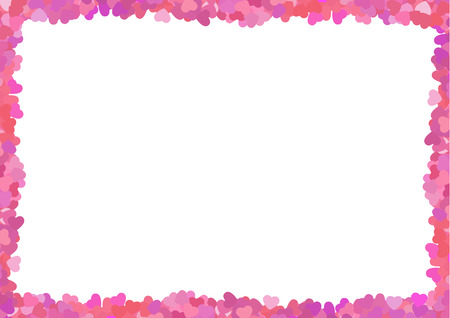 text pink: Valentine  love  frame made from a lot of pink hearts