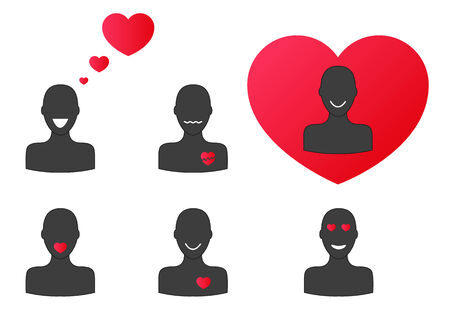 Collection of 6 silhouettes with hearts - during different emotions of love