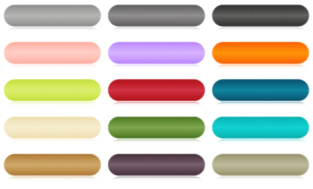 Set of 15 isolated buttons in different colors Ilustração
