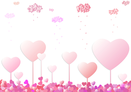 unusual valentine: Unusual Valentine card with growing hearts as a trees and raining hearts from heart clouds