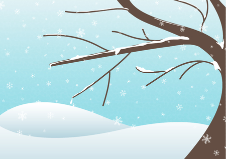 frigid: Illustration of winter landscape with a big tree during snowy day