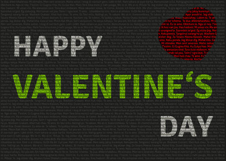 Multilingual  I love you  text with  Happy valentine s day  overlay Vector