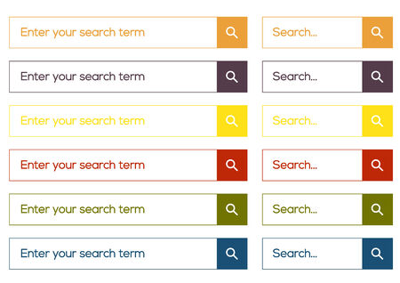 Set of 6 isolated search form in simple flat design Vector